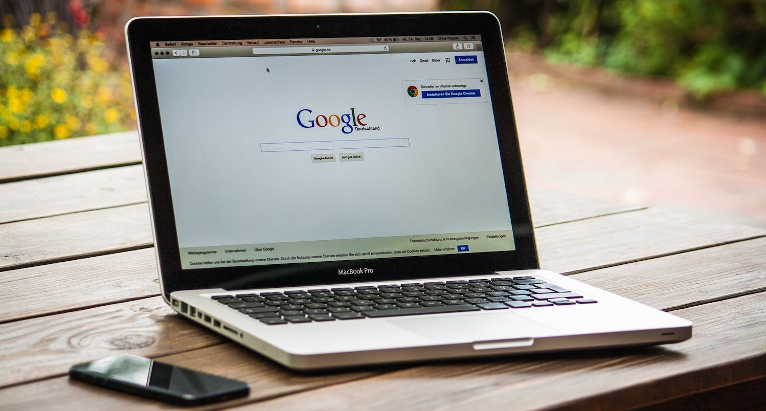 Macbook with Google Home page